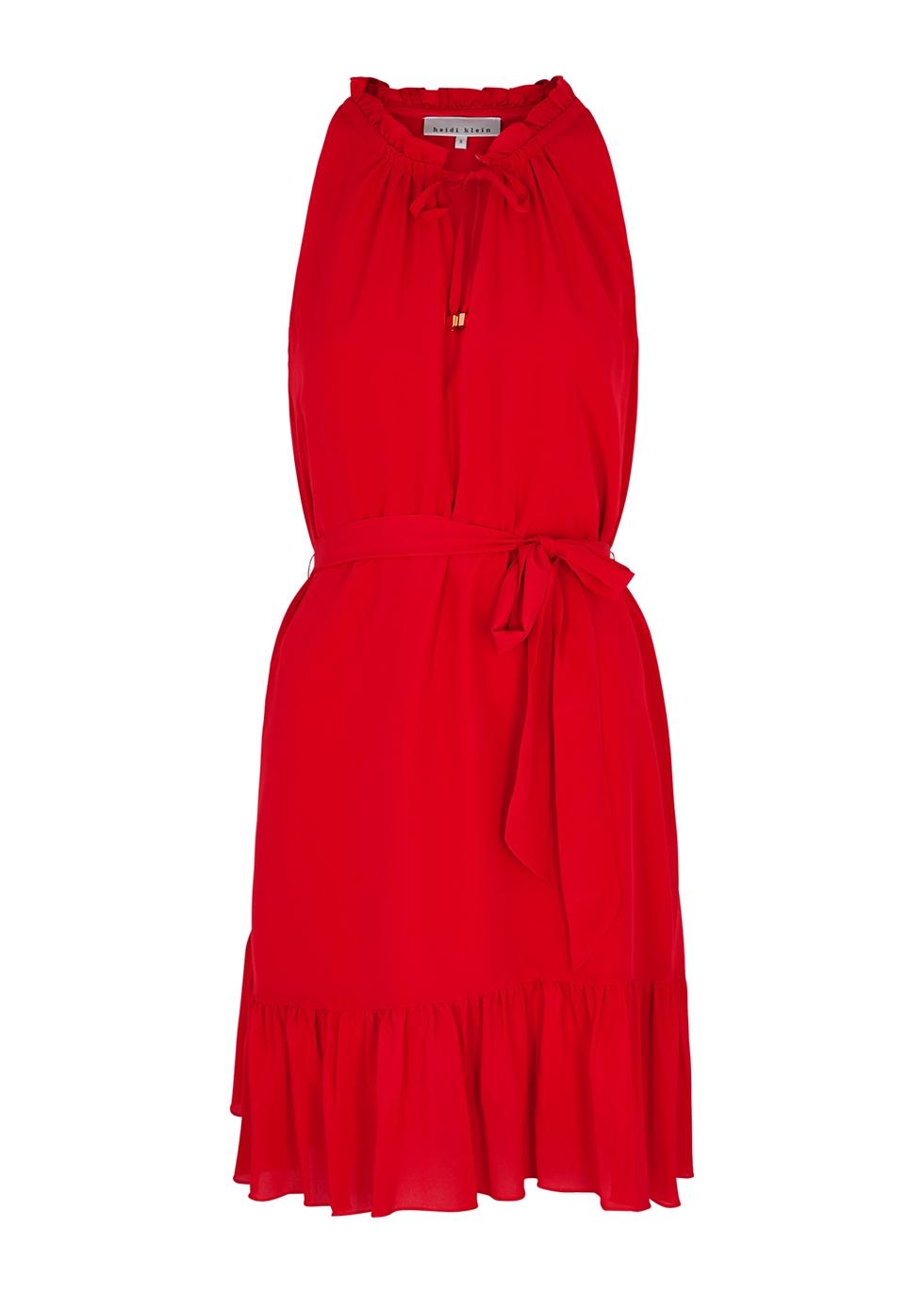 Pampelonne red silk mini dress