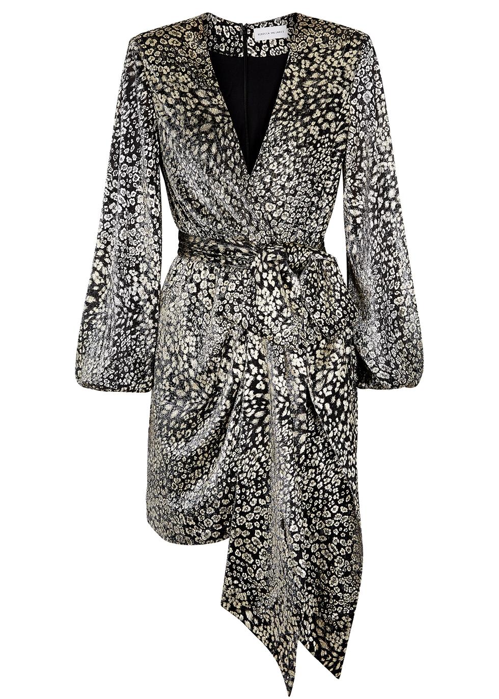 Vienna leopard-print fine-knit mini dress