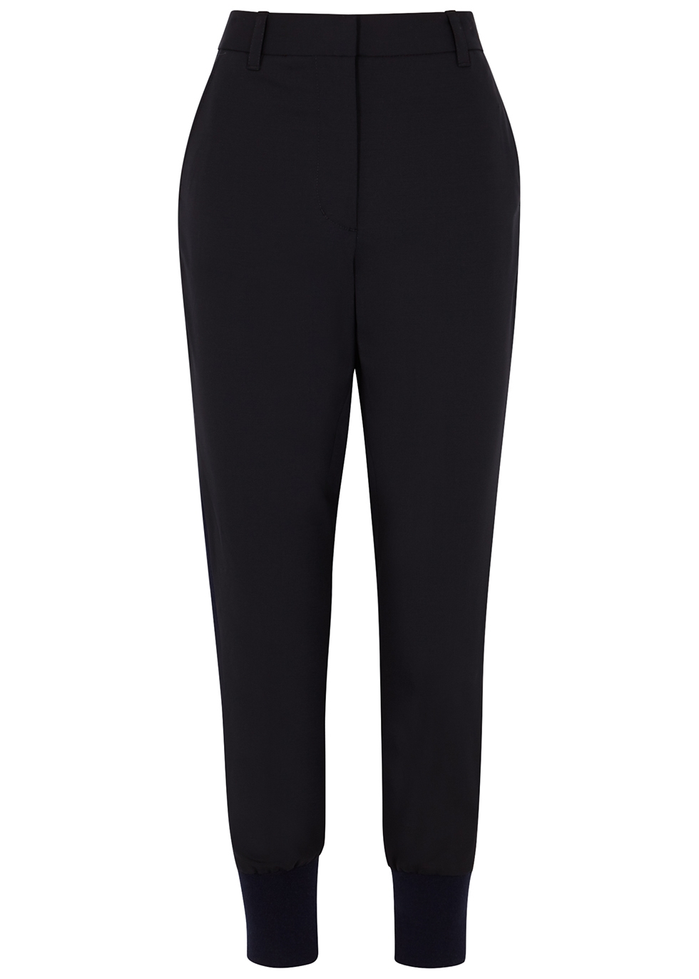 Navy wool-blend trousers