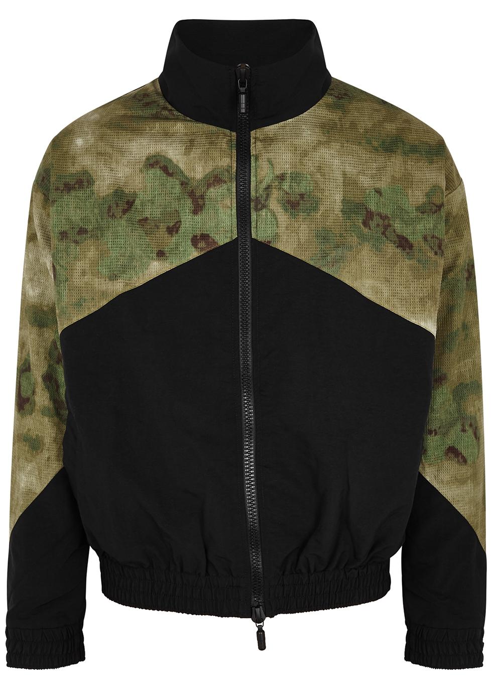 Black camouflage-panelled shell jacket