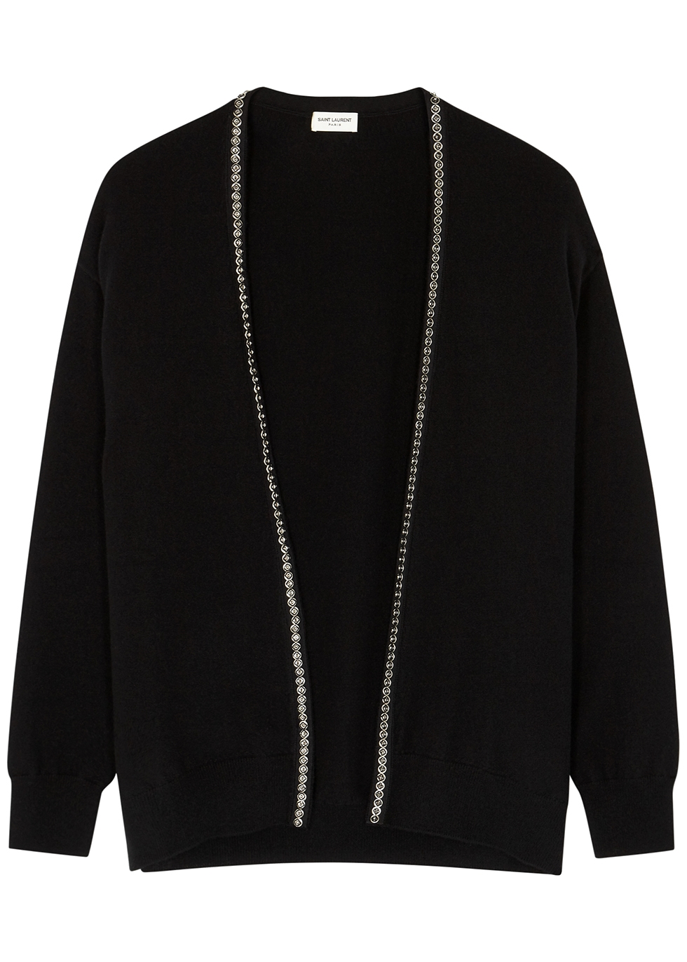 Black embellished cashmere cardigan