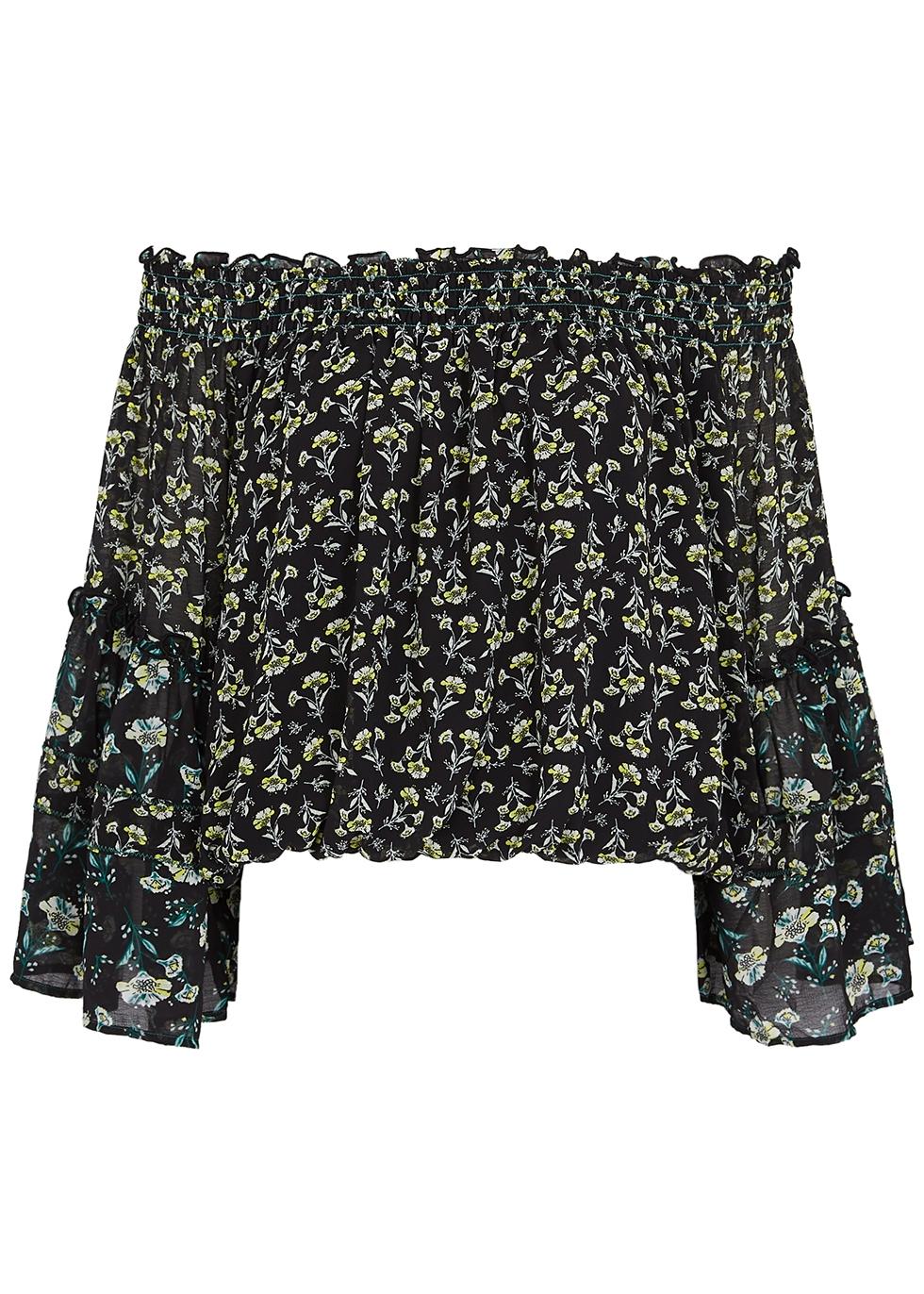 Black floral-print chiffon top
