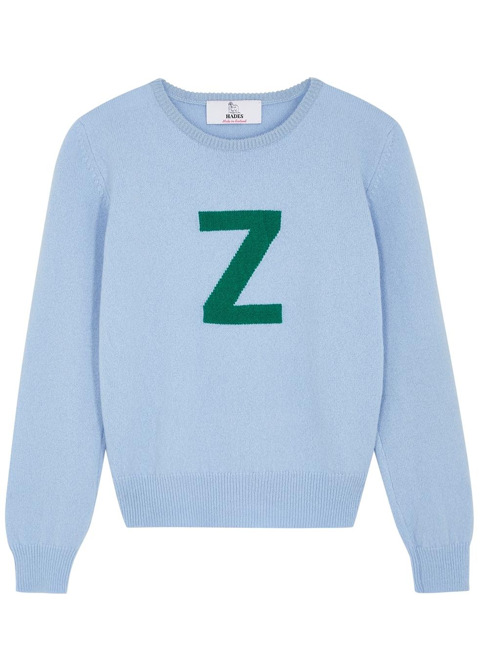 Alphabet Z light blue wool jumper