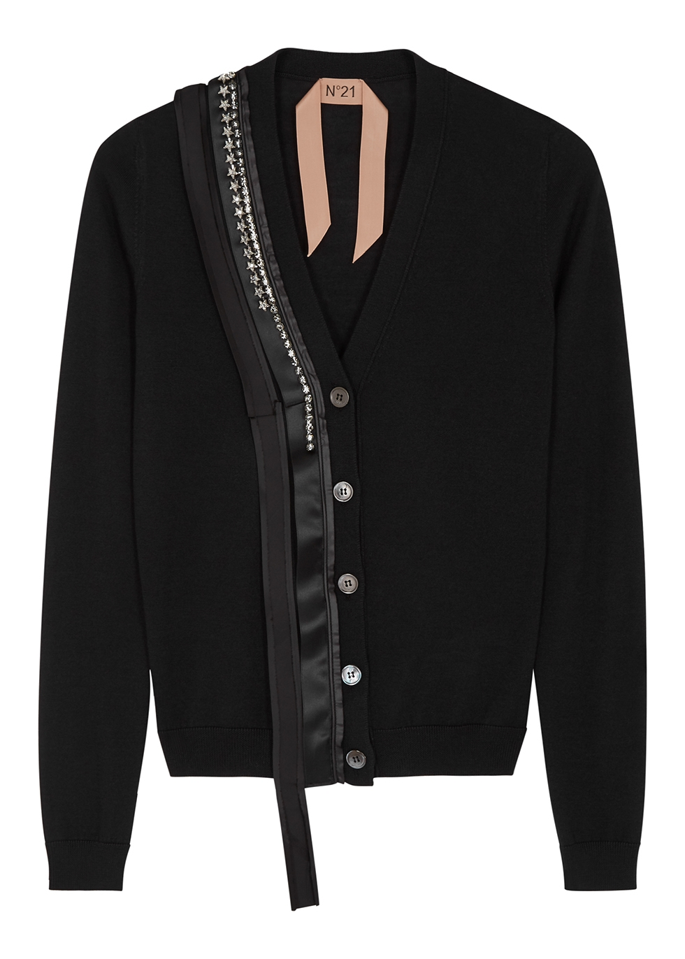 Black embellished wool-blend cardigan