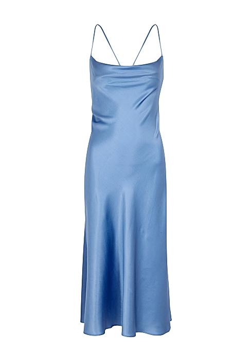 VILLAO Blue lace-up stretch-silk midi dress
