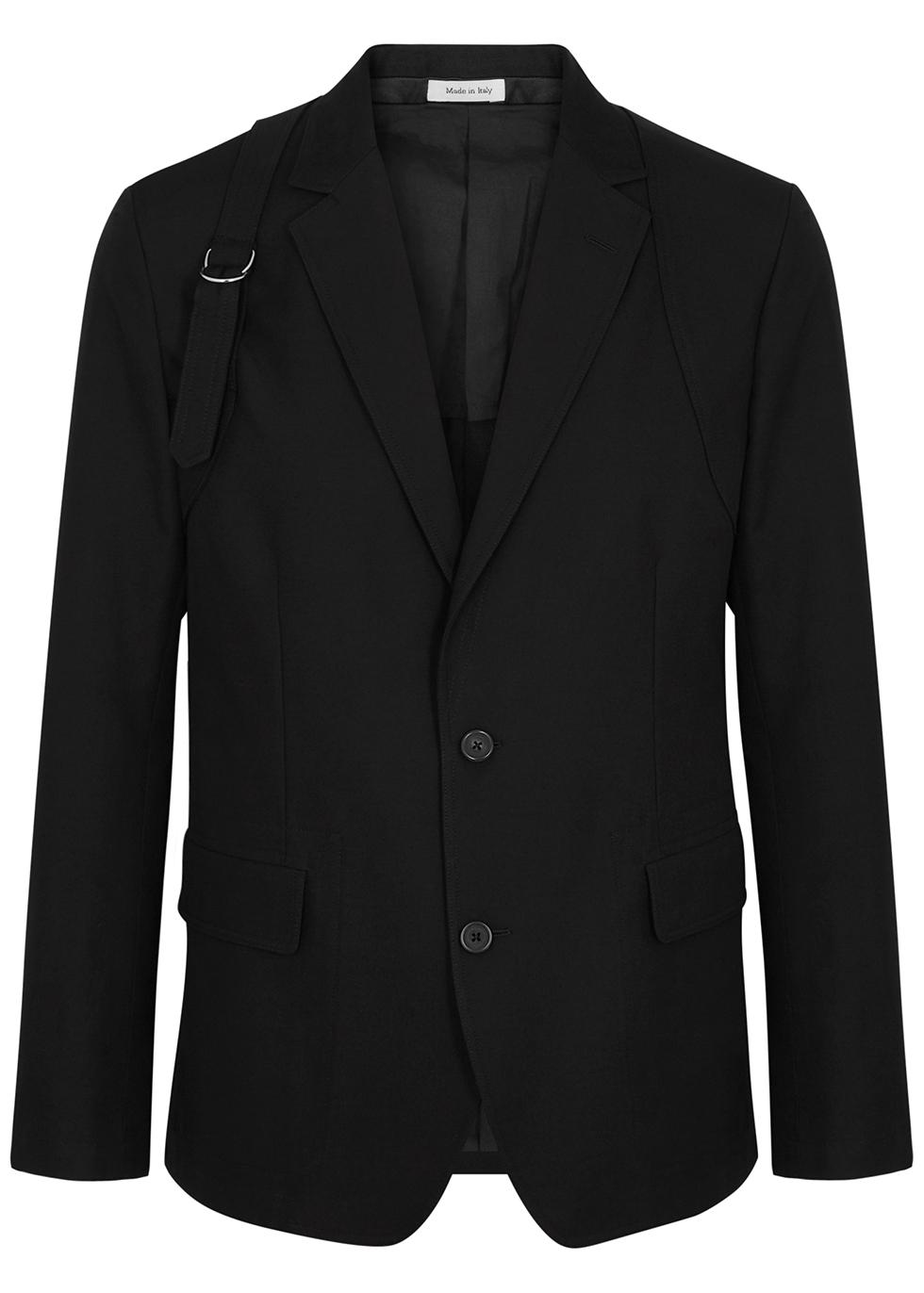 Black harness cotton blazer