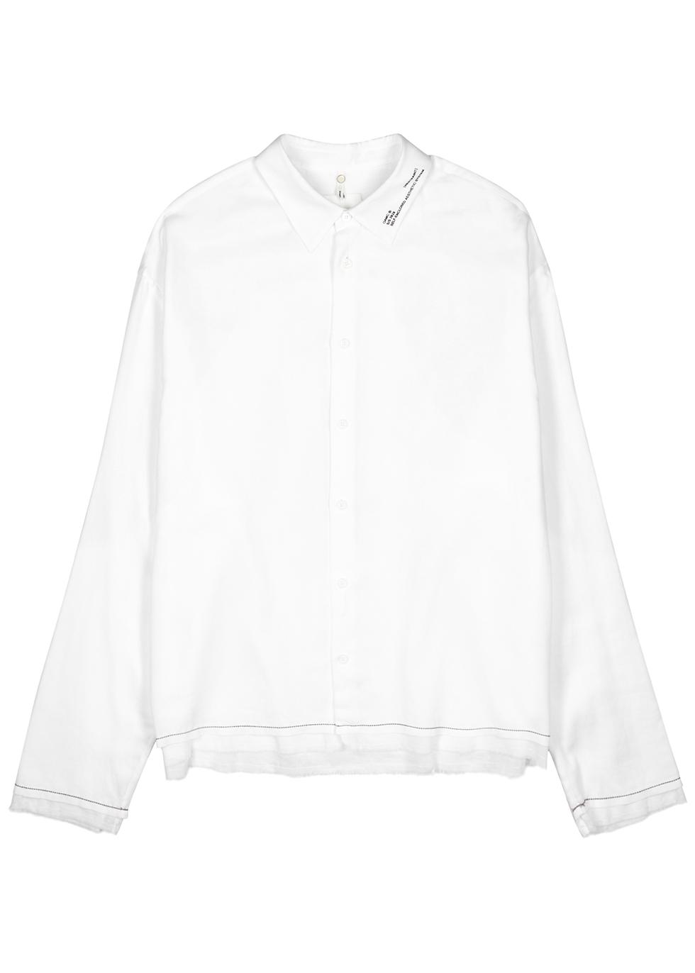 Haze white printed cotton shirt