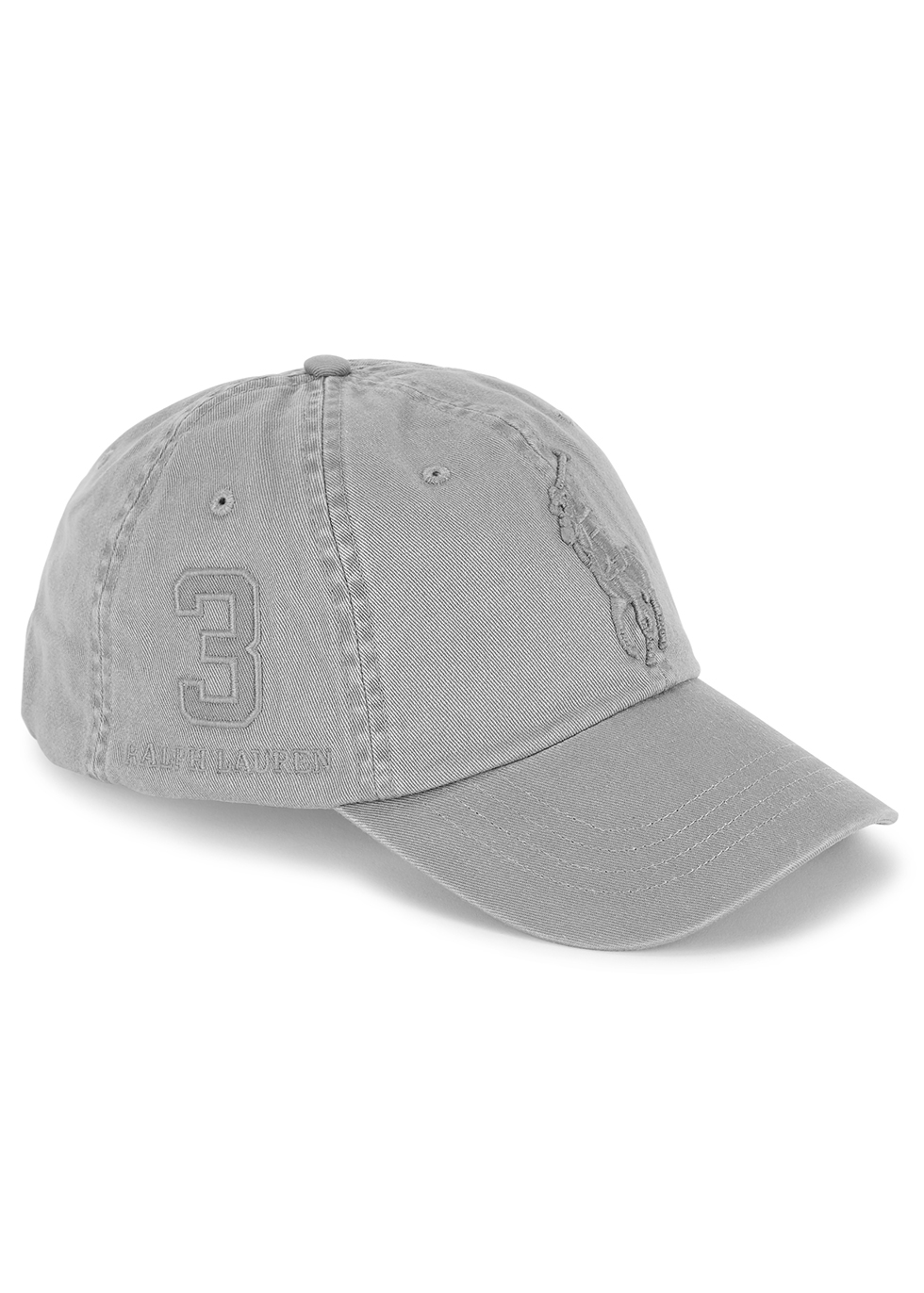 Grey embroidered cotton cap