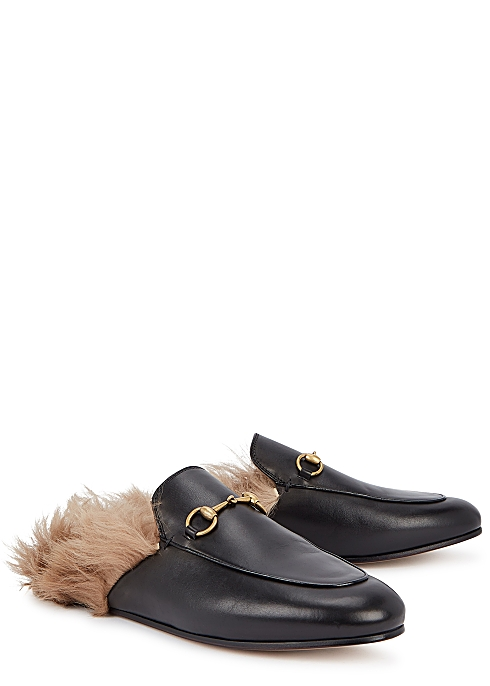 Princetown fur-trimmed leather loafers - Gucci
