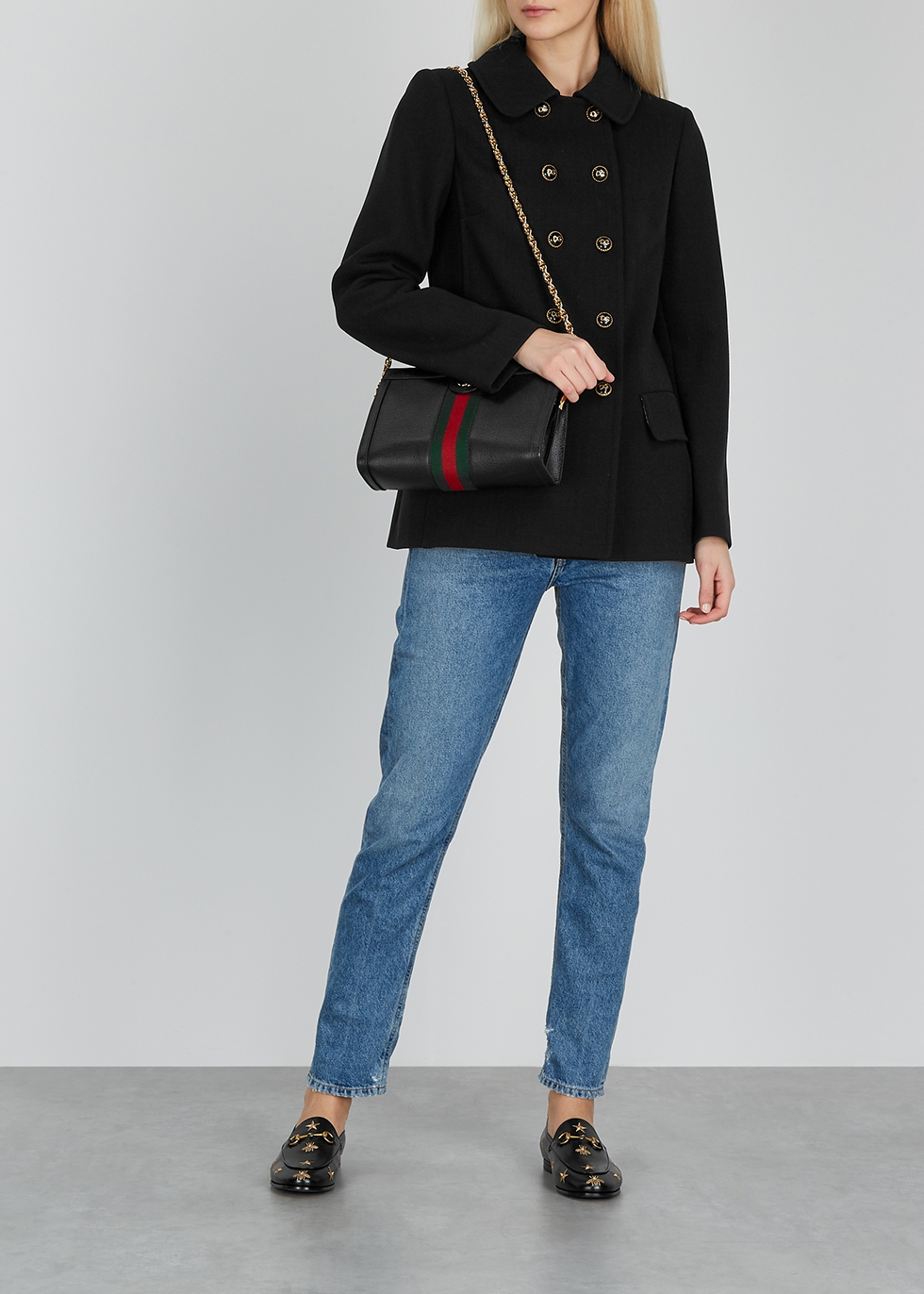 Gucci Jordaan black embroidered leather