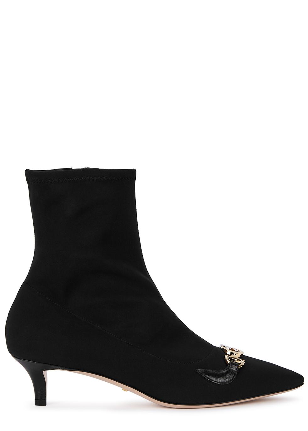 Zumi 50 black stretch-knit ankle boots