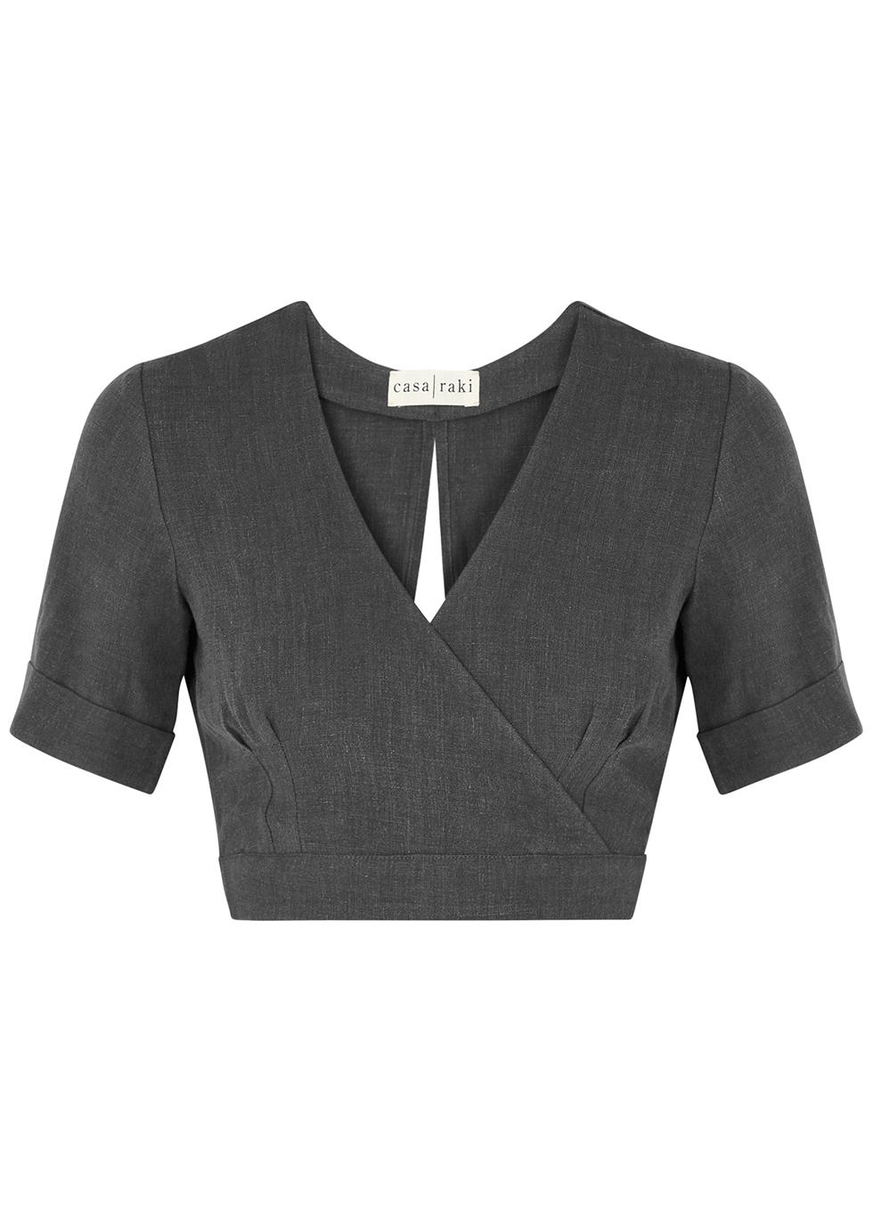 Jimena slate grey wrap-effect linen top