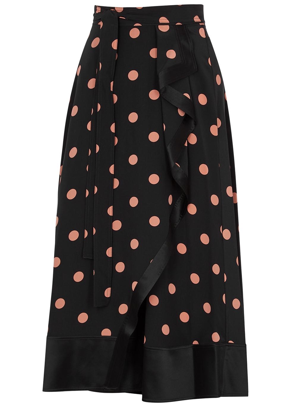 Black polka-dot silk wrap skirt