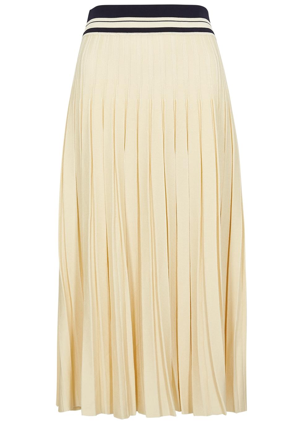 Cream pleated stretch-knit midi skirt