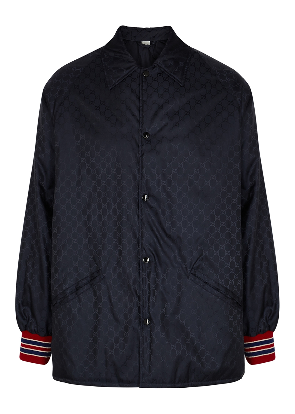 Navy GG-jacquard shell jacket