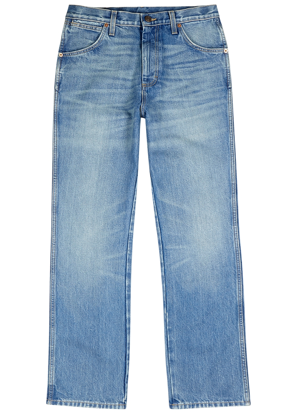 Light blue straight-leg jeans
