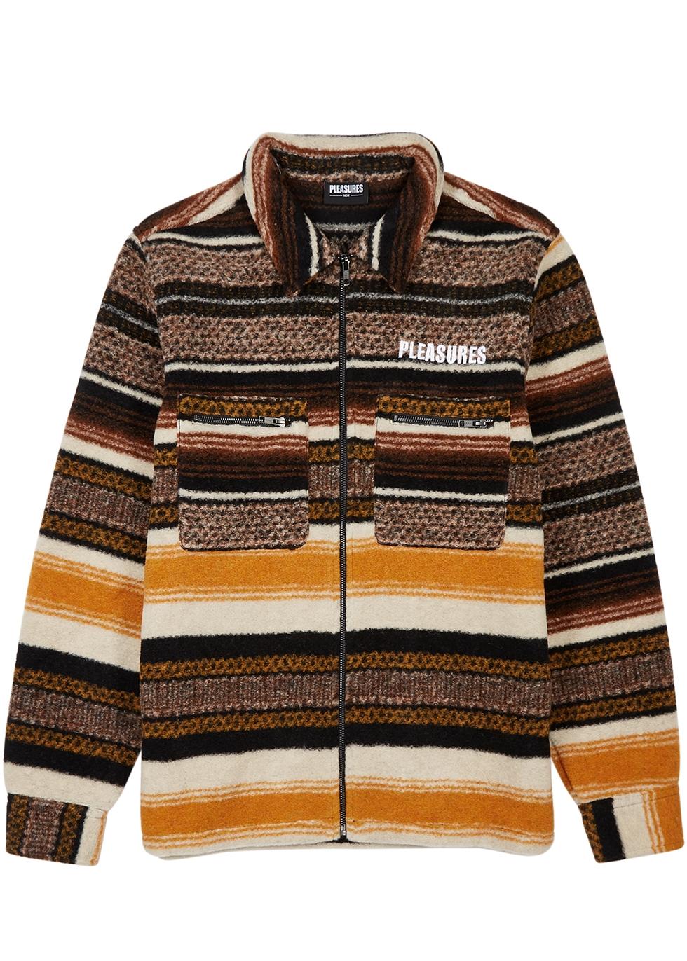 Explorer striped wool-blend fleece jacket