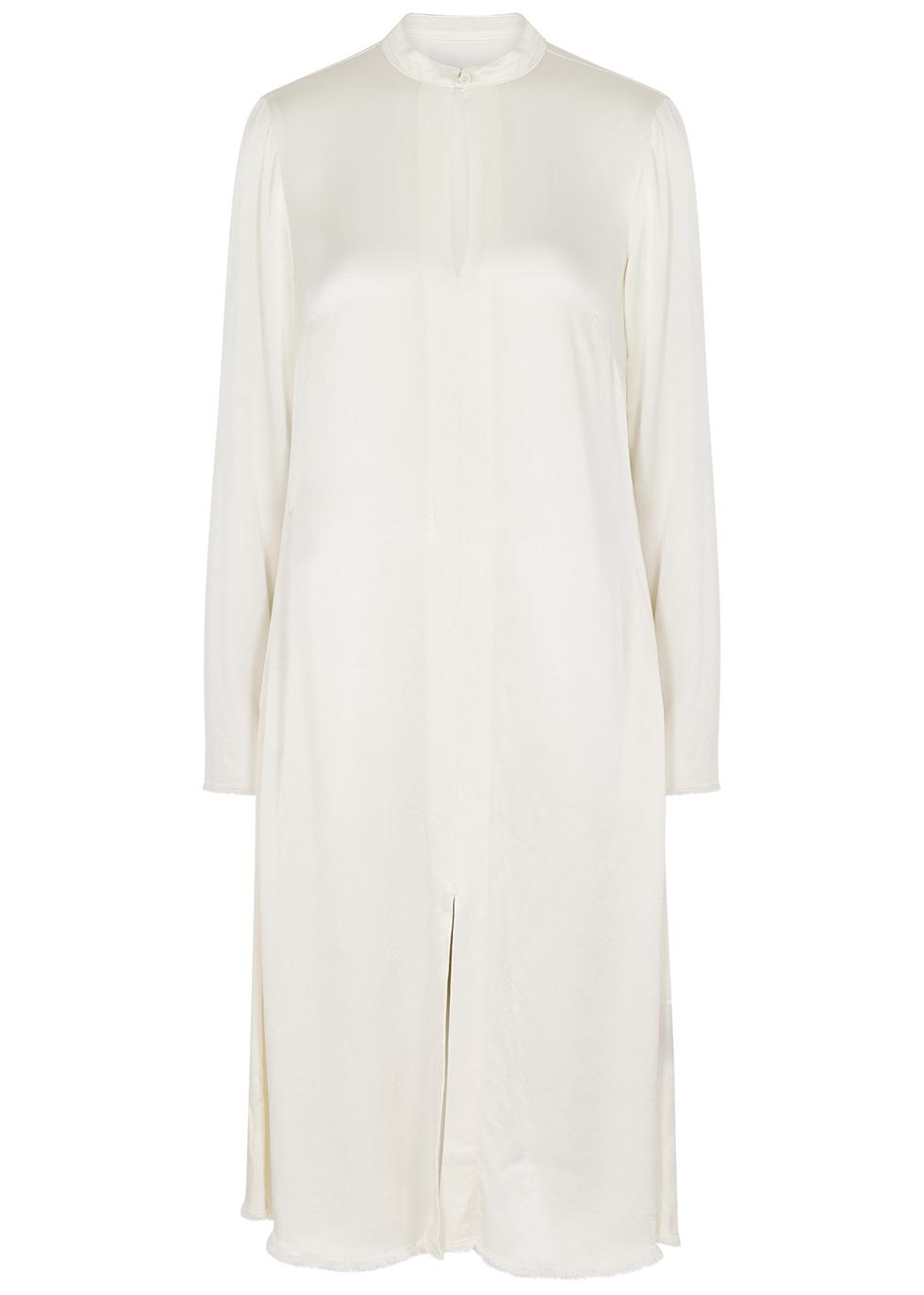Ivory satin midi dress