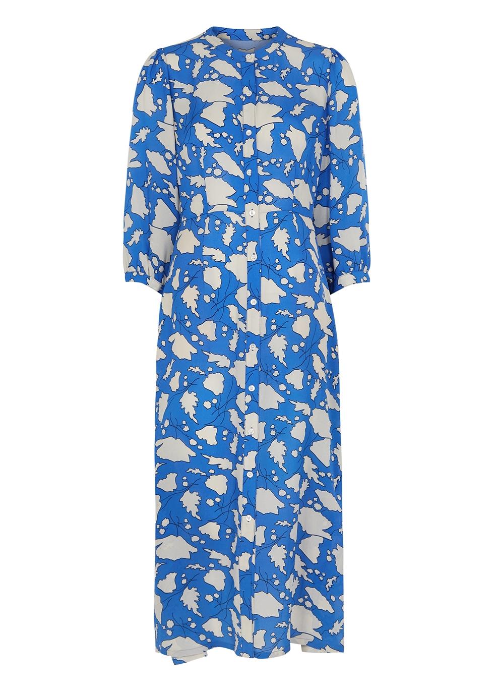 Dreamer blue printed silk midi dress