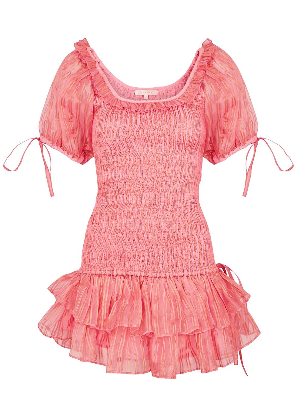 Violet pink shirred silk mini dress
