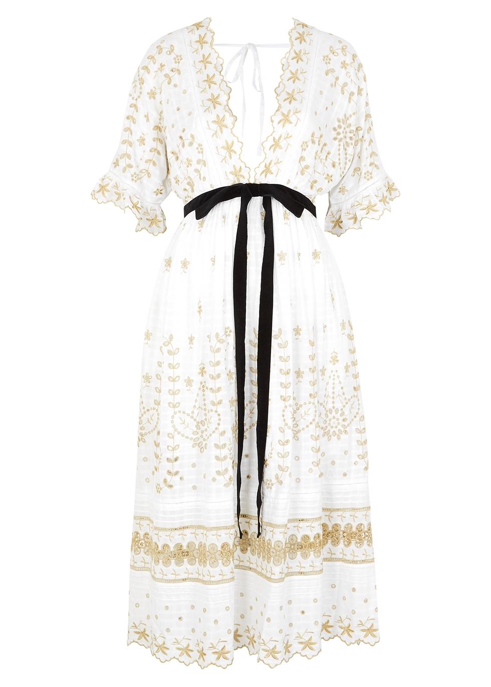 Augusta embroidered midi dress