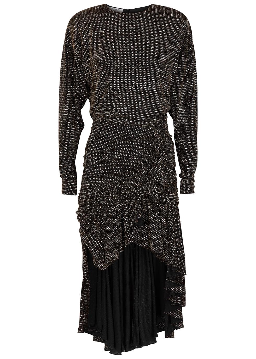 Glittered polka-dot ruffle-trimmed dress