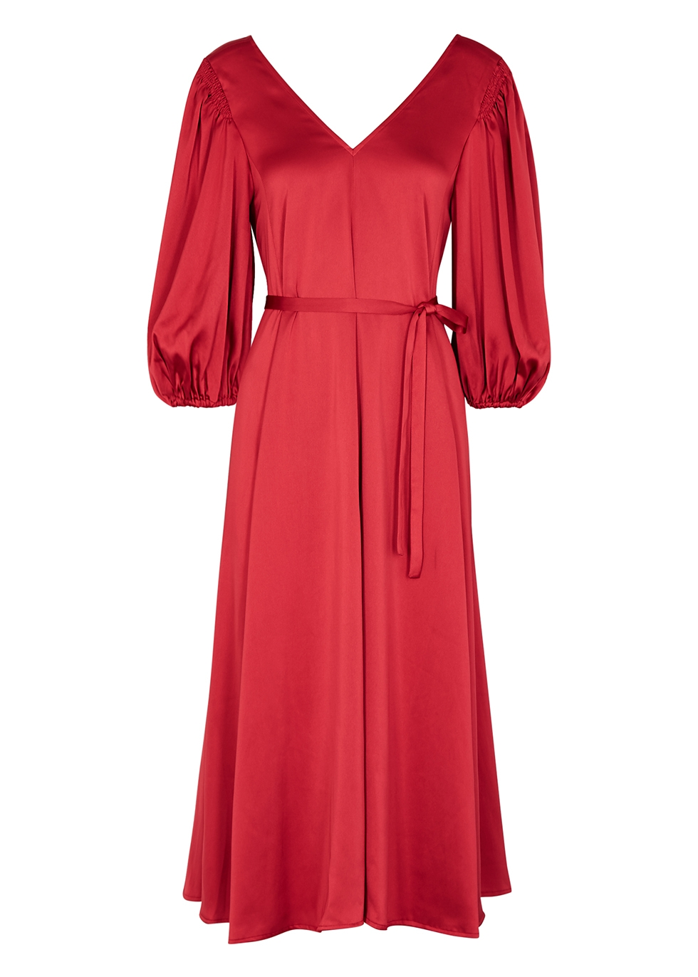 Marlen red satin midi dress