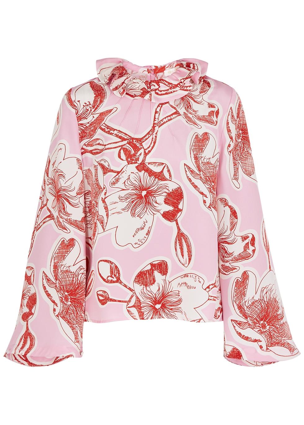 Poppy floral-print silk blouse