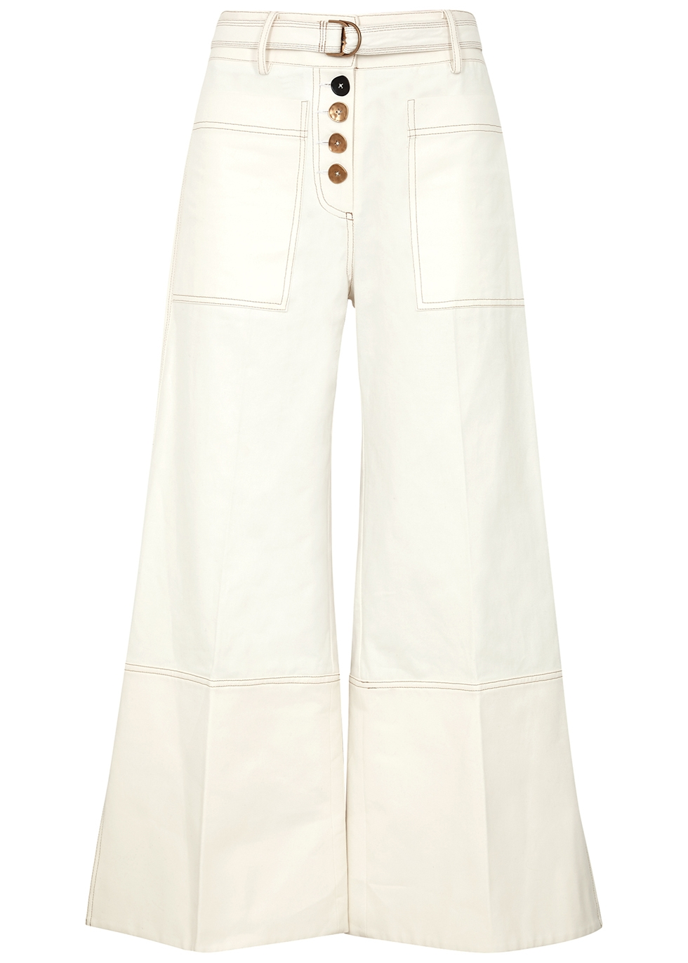 Sibelvis off-white wide-leg jeans