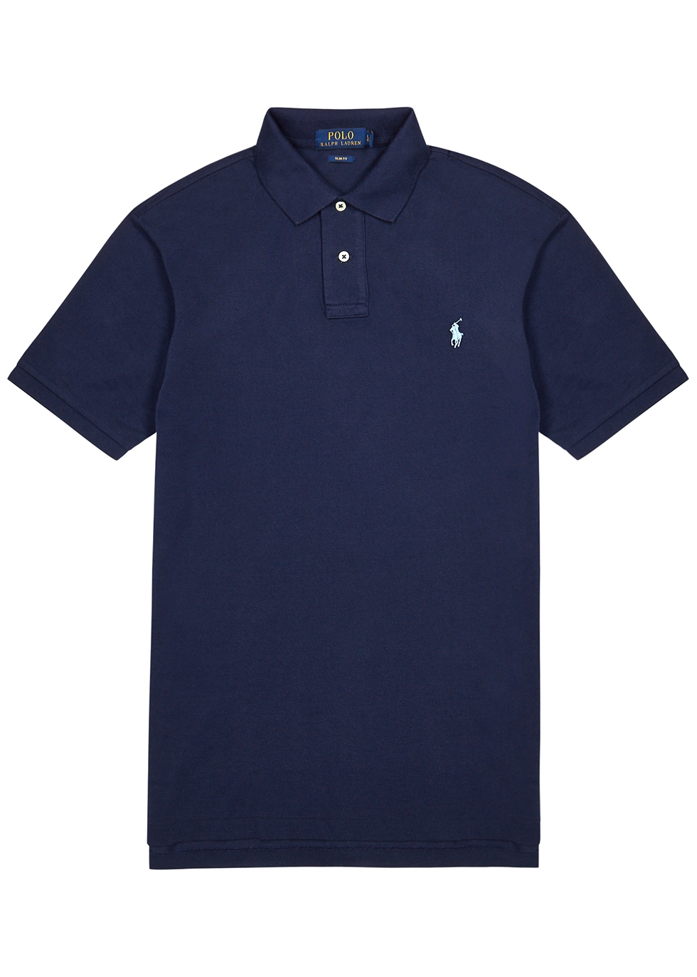 Navy piqué-cotton polo shirt