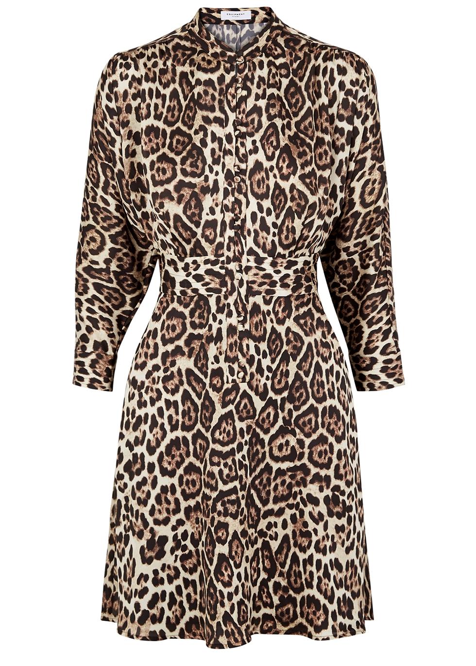 Adalicia leopard-print satin mini dress