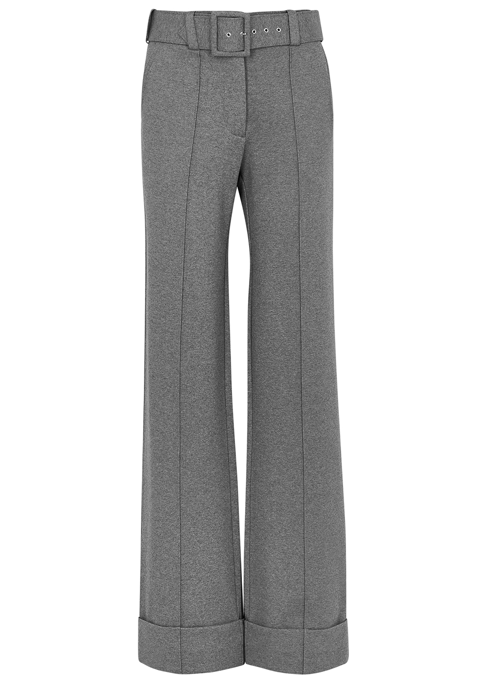Grey belted wide-leg trousers