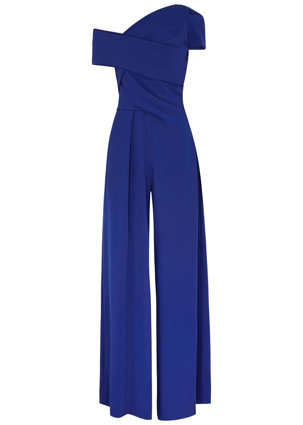 Risk blue one-shoulder wide-leg jumpsuit