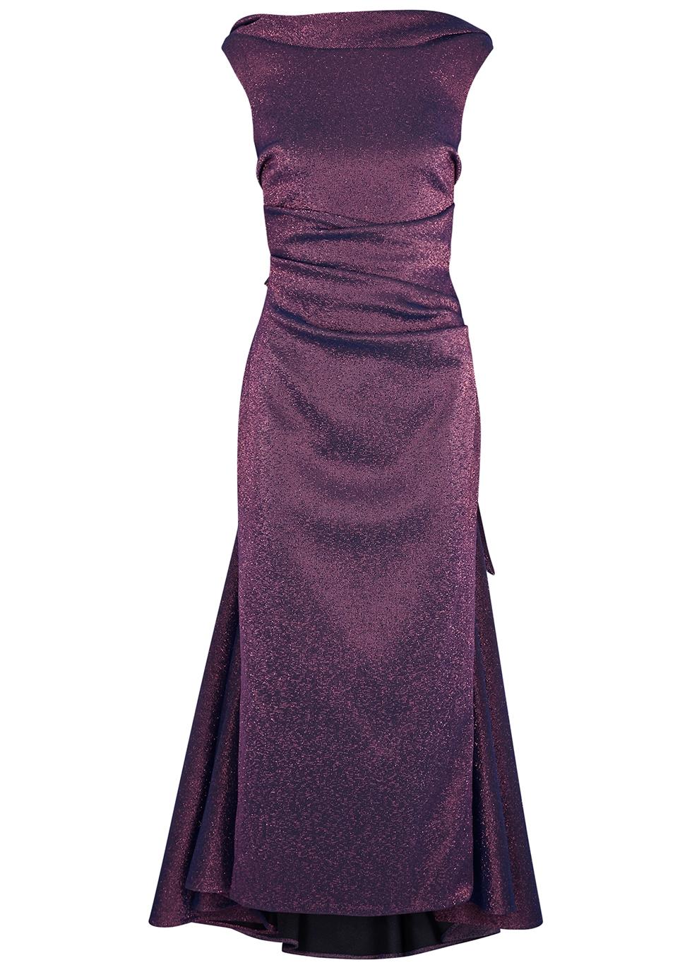Tomislava1 metallic purple stretch-gazar gown