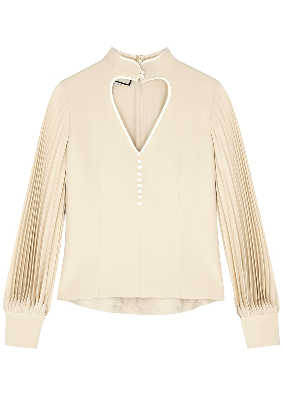 Ivory cut-out silk blouse