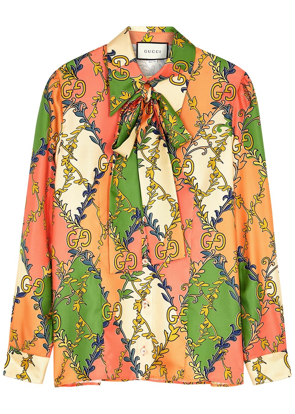 Printed silk-twill blouse