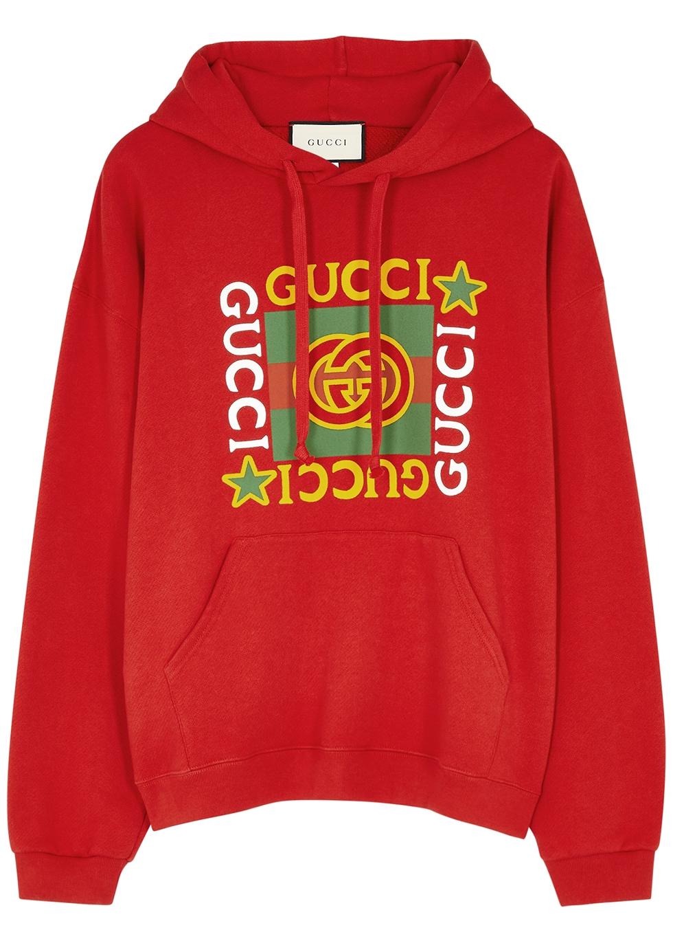 Red logo-print hooded cotton sweatshirt