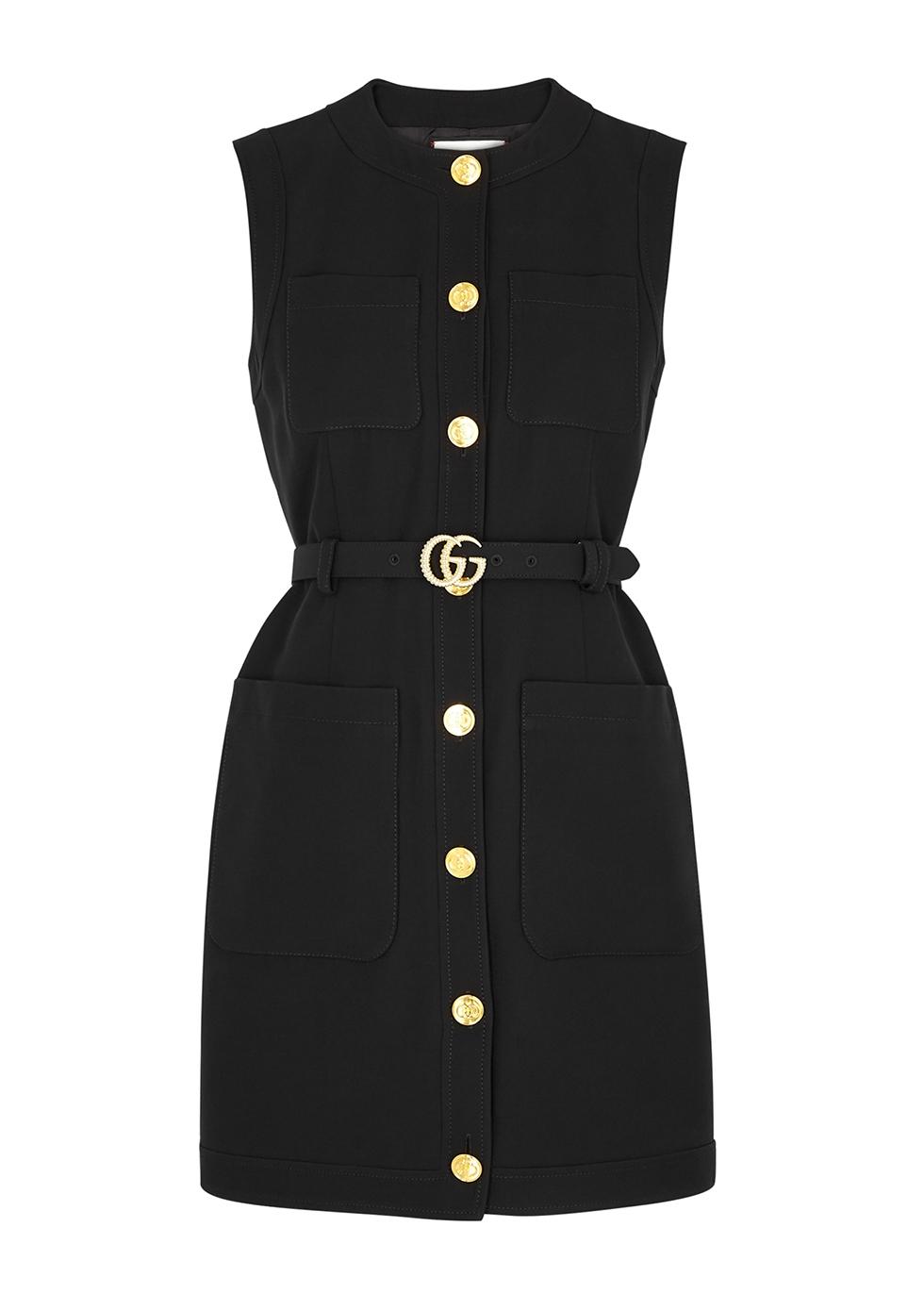 Black silk-blend mini dress