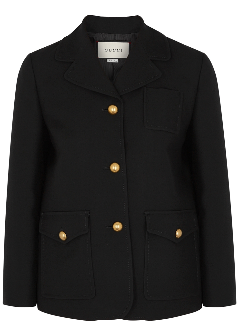 GG black silk and wool-blend jacket
