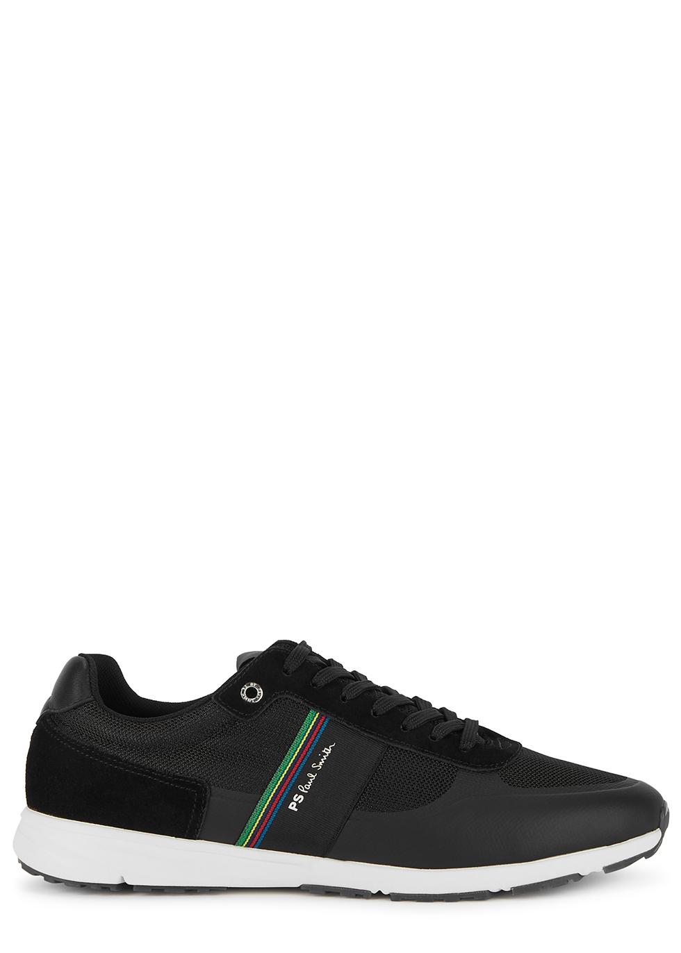 Huey black panelled mesh sneakers