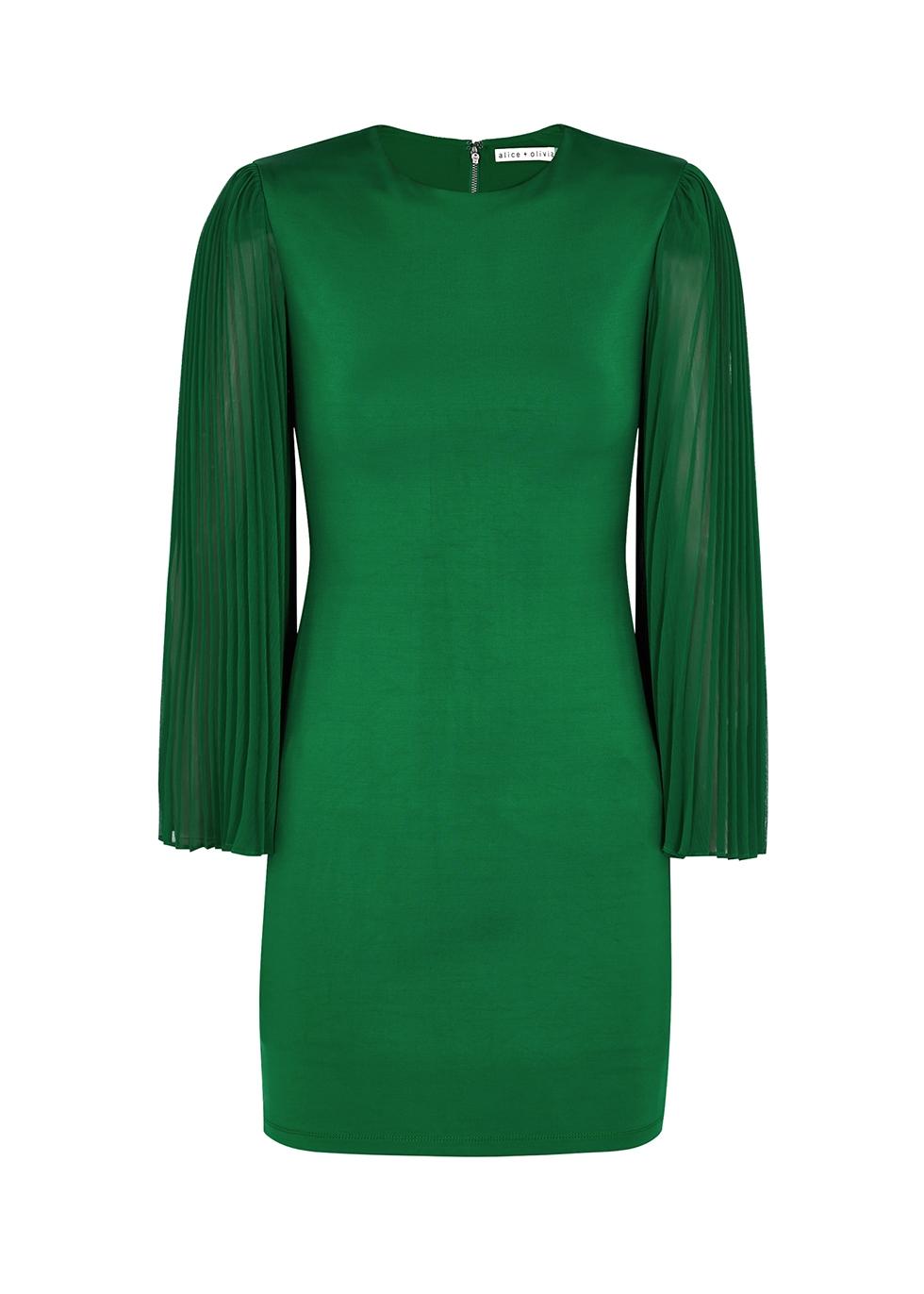 Zaya green stretch-jersey mini dress