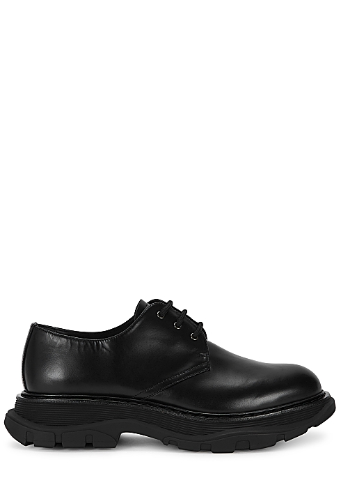 ALEXANDER MCQUEEN Tread black leather Derby shoes
