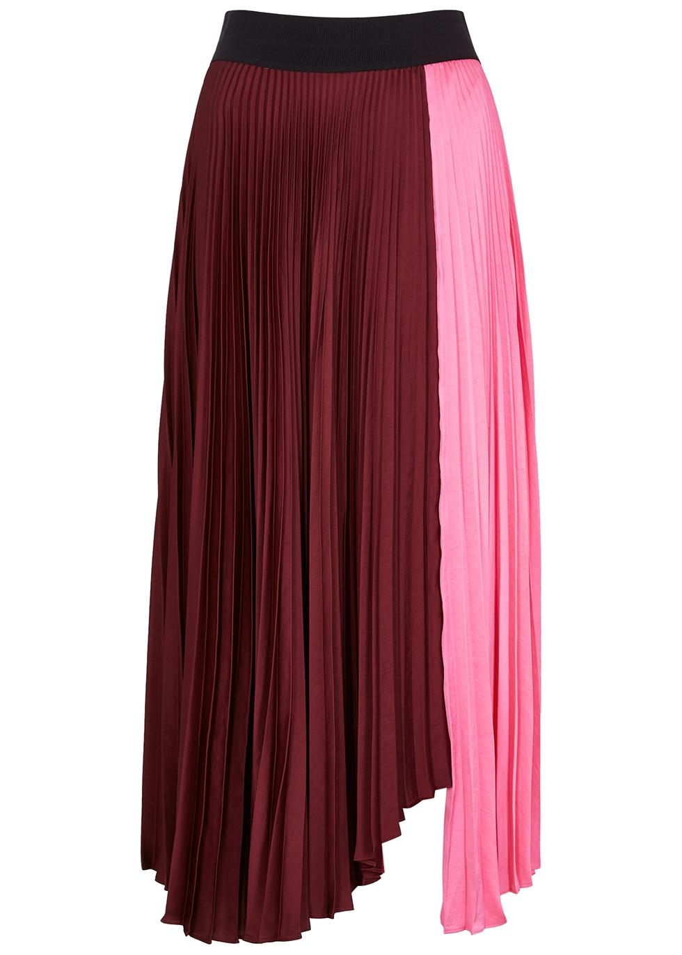 Faux Leather Chiffon Women Skirts High Waist Contrast Asymmetrical Women Skirt