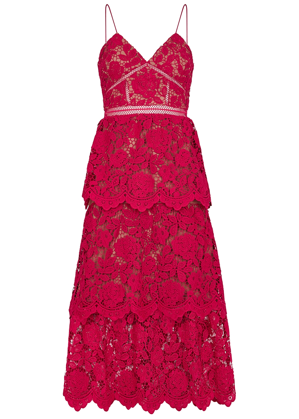 Red floral guipure lace midi dress