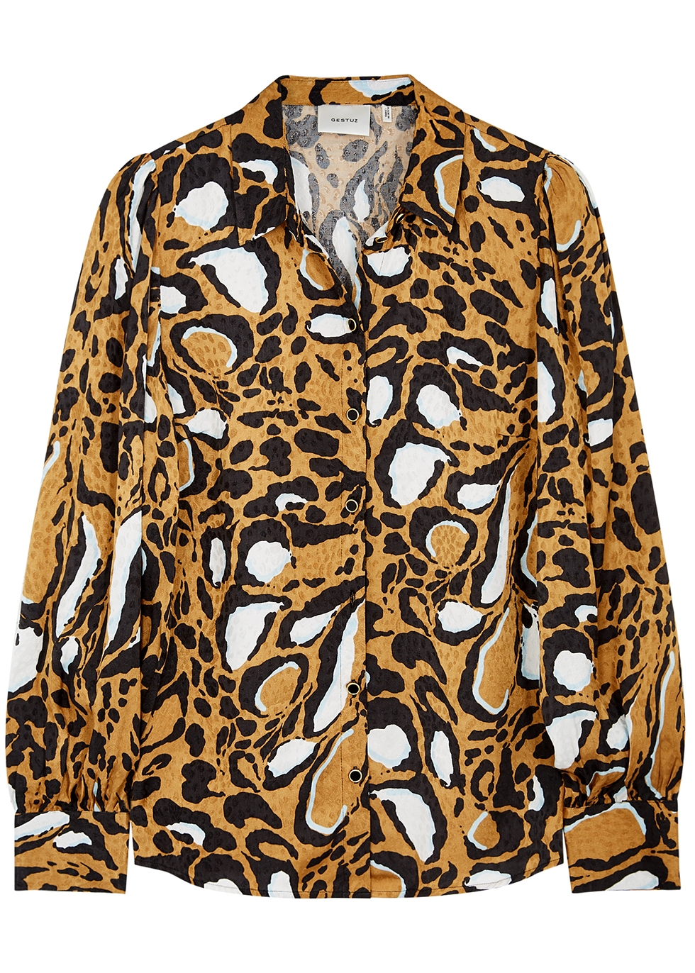 Lori leopard-jacquard satin blouse