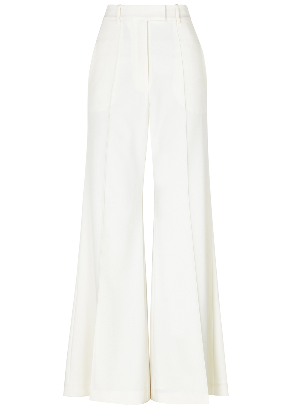 Lincoln ivory flared wool trousers