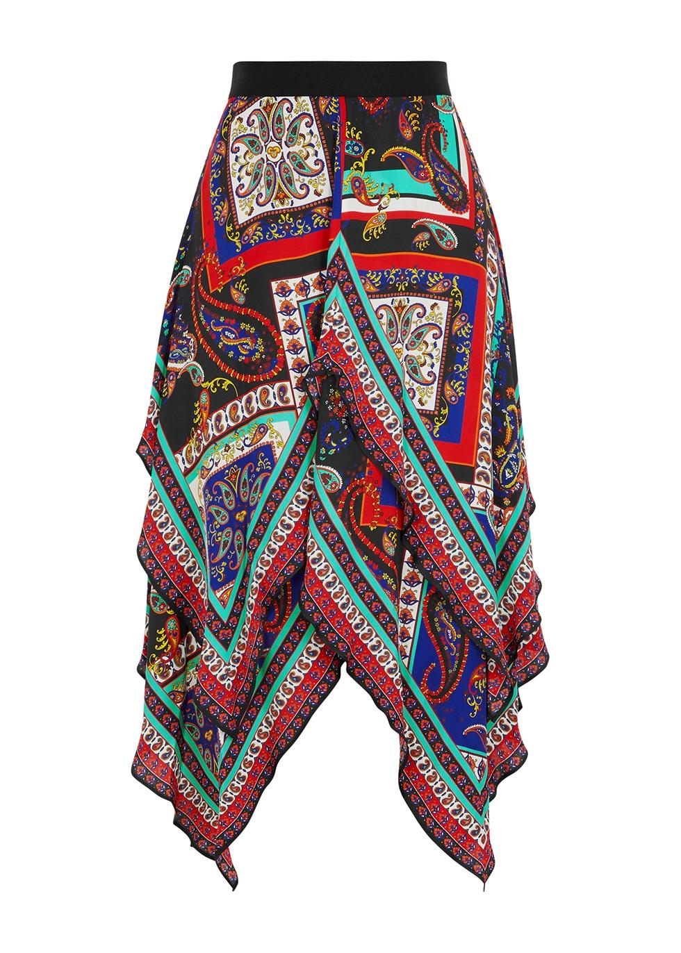 Maura printed asymmetric satin skirt