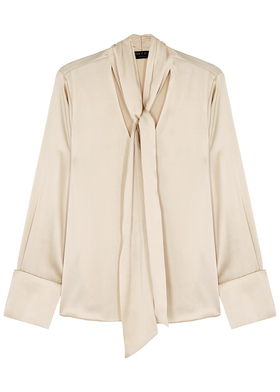 Rosina taupe stretch-silk blouse
