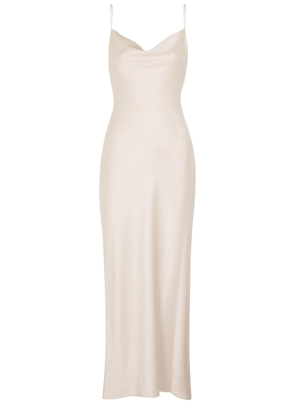 Harmony champagne satin dress