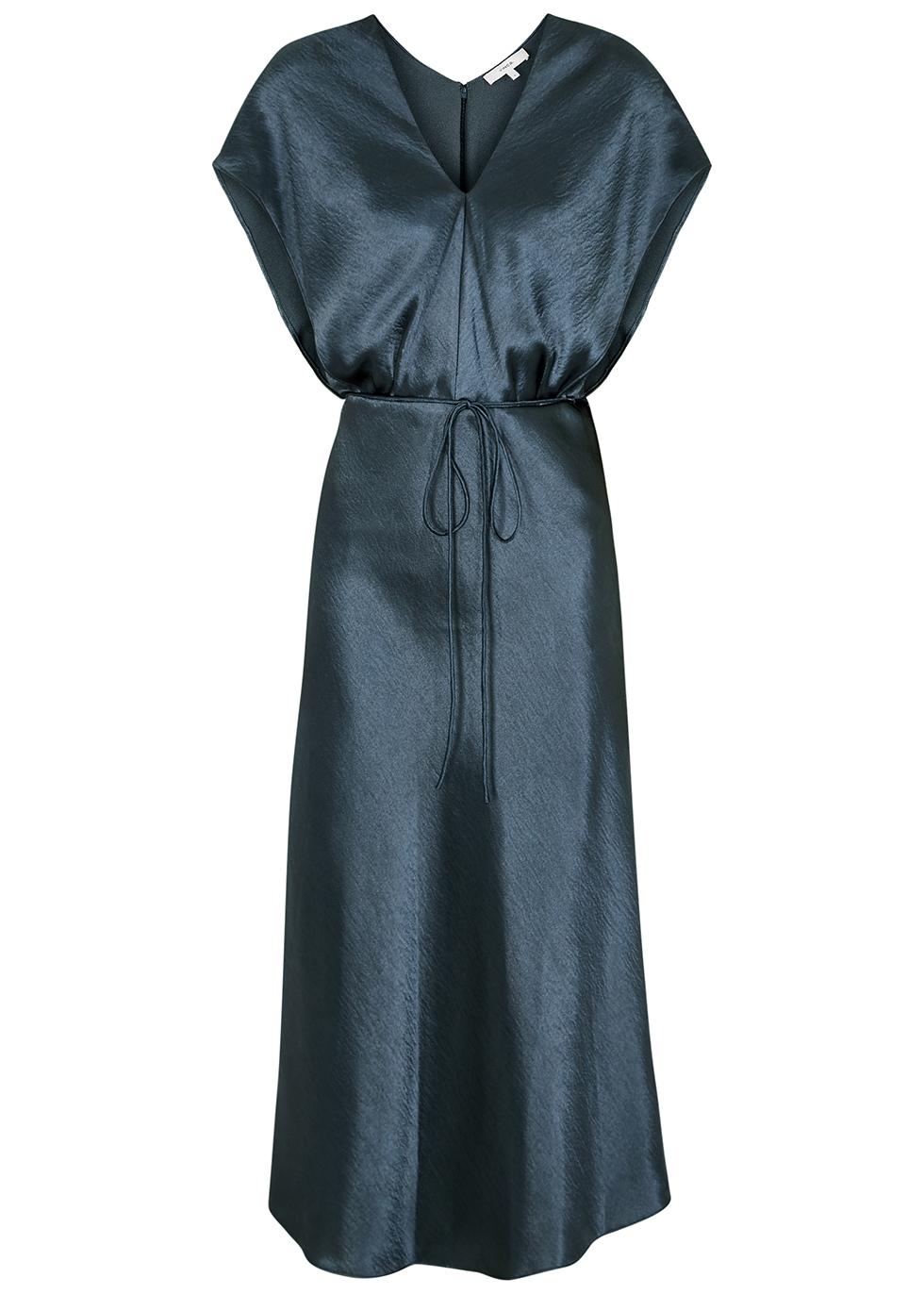 Blue satin midi dress